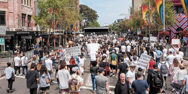 Thousands of protesters have hit the streets in Sydney after Donald Trump's inauguration as US