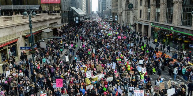 People participating in a Women's March to protest against U.S. President Donald Trump fill up 42nd St. in New York City, U.S. January 21, 2017. REUTERS/Stephanie Keith