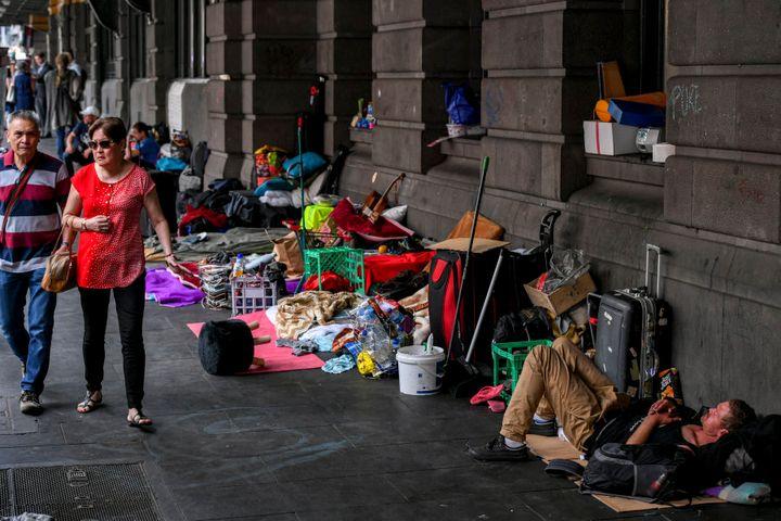Homeless people around CBD. 11 January 2017