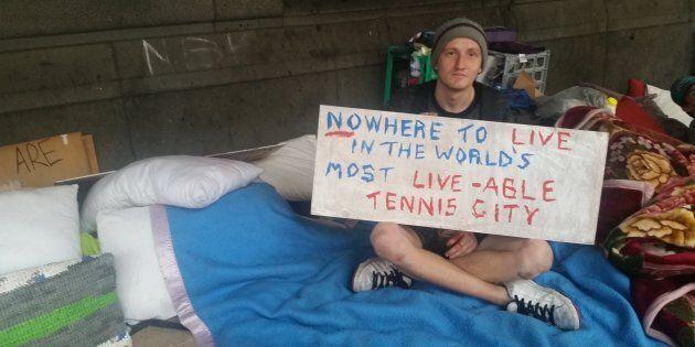 Homeless man who identifies himself as