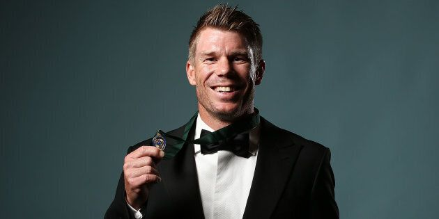 SYDNEY, AUSTRALIA - JANUARY 23: David Warner poses after winning the Allan Border Medal during the 2017...