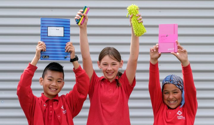 Children from Broadmeadows Valley Primary receiving their donated stationery.