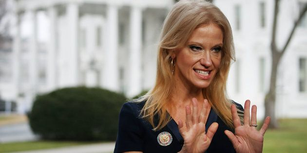WASHINGTON, DC - JANUARY 22: Counselor to President, Kellyanne Conway, prepares to appear on the Sunday morning show Meet The Press, from the north lawn at the White House, January 22, 2017 in Washington, DC. Conway discussed President Trump's recent visit to the CIA and White House Press Secretary Sean Spicer's first statement. (Photo by Mark Wilson/Getty Images)