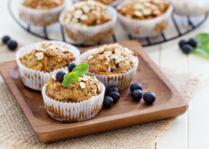 Try banana carrot muffins with oats and berries.