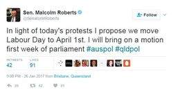Malcolm Roberts Wants To Change The Date Of Labour Day Because He Thinks It's About The Labor