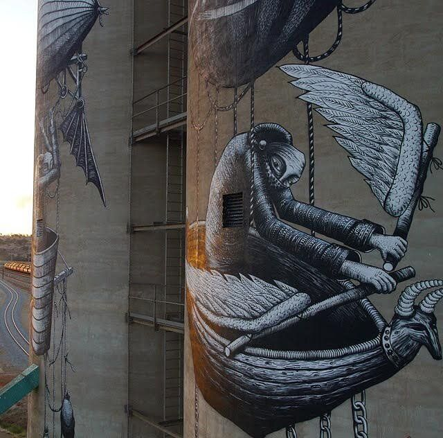 UK artist Phlegm was inspired by the Wheatbelt's history of aviation.