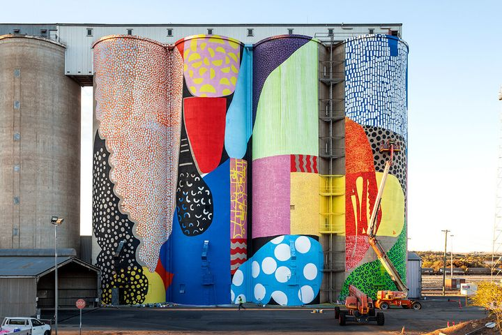 US artist Hense chose to paint the silos with vibrant, rich colours.