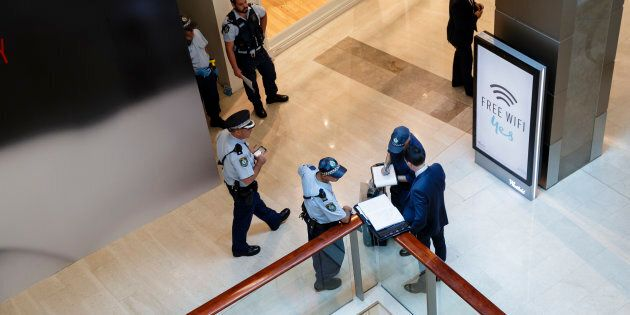 Police attend at Westfield Bondi Junction after a dead body was found in the stairwell on level four...