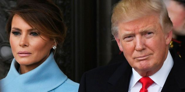 President Donald Trump and Melania Trump depart the 2017 Presidential Inauguration at the U.S. Capitol.
