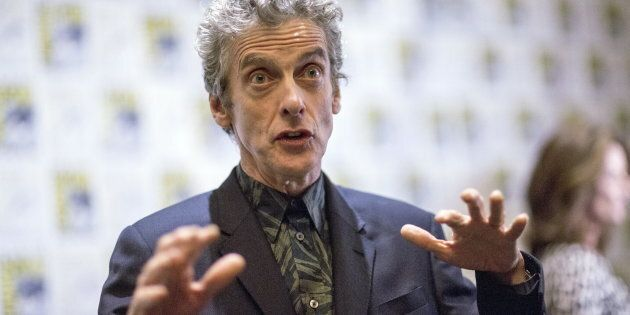 Cast member Peter Capaldi is interviewed at a press line for