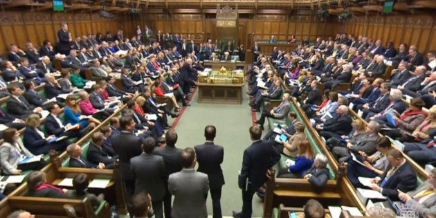 A full House of Commons, London during the second reading debate on the EU (Notification on Withdrawal) Bill.