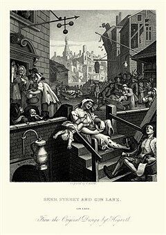 Vintage engraving of showing a scene from William Hogarth's Beer Street and Gin Lane. The sketch shows the evils of the consumption of gin as a contrast to the merits of drinking beer.