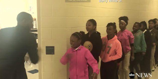 Screenshot of ABC News segment on Barry White Jr Ashley Park Elementary School