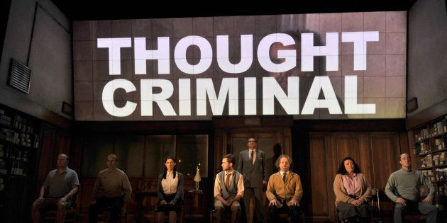 Artists of the company in Robert Icke and Duncan Macmillan's adaptation of George Orwell's 1984 directed by Robert Icke and Duncan Macmillan at the Playhouse Theatre in London. (Photo by robbie jack/Corbis via Getty Images)