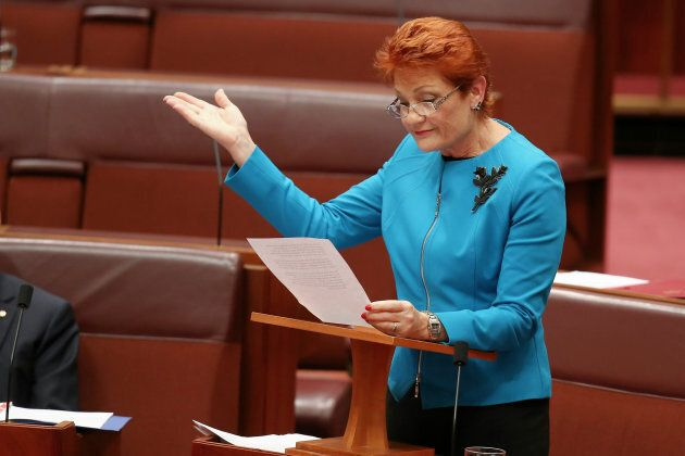 Pauline Hanson delivers a speech in the