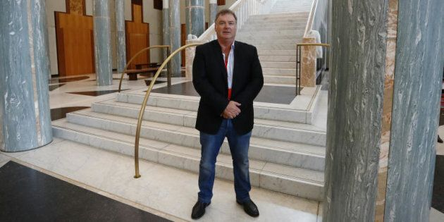 Rod Culleton in the marble foyer during his visit to Parliament