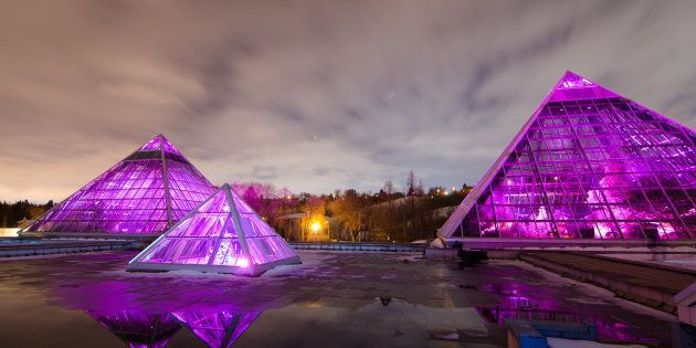 The Muttart conservatory, in the heart of Edmonton Alberta, is a stunning landmark in a vibrant