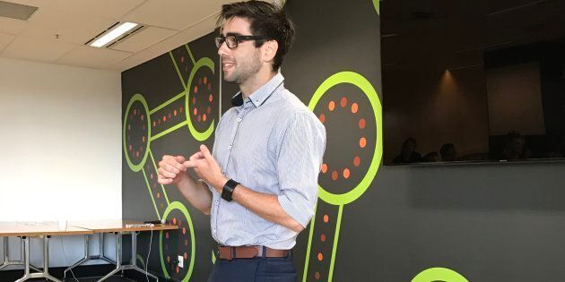 Robert Quinn addresses fellow entrepreneurs in Sydney about his start-up, Patch'd, which aims to allow patients to have their vital signs monitored with an electronic patch.
