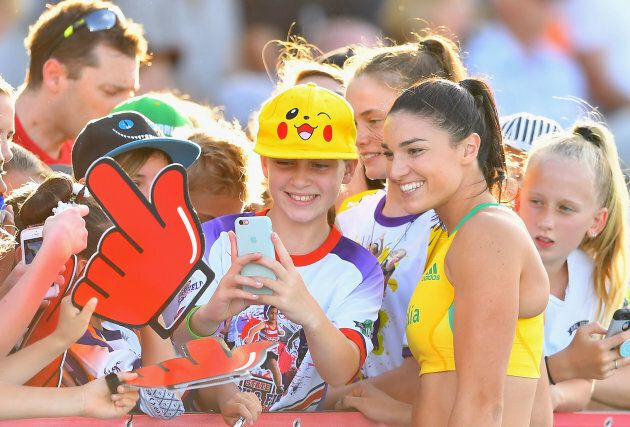 It's all about getting close to the fans. Oh, and Michelle Jenneke even won her hurdles race, just to...