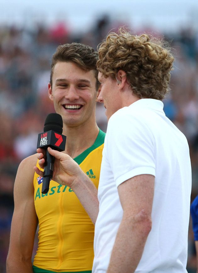 This is Australian pole vaulter Kurtis Marschall being interviewed by Steve Hooker, who knows a thing...