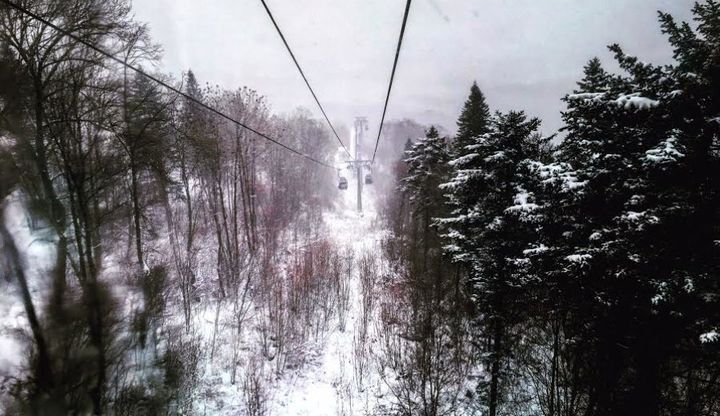 A view from the ski gondola in Club Med Beidahu.
