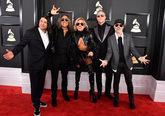 Musicians Robert Trujillo and Kirk Hammett of Metallica, Lady Gaga and James Hetfield and Lars Ulrich...