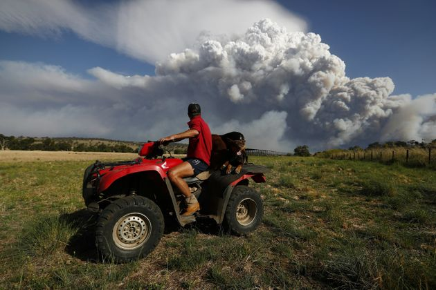 Smoke from the Sir Ivan fire can be seen heading towards Craig Schneider's property. Photo: Alex