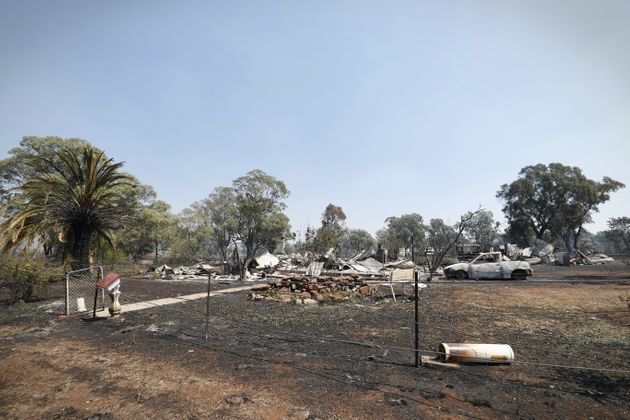 Property damage at Uarbry, NSW, after it was hit by the Sir Ivan fire the day before, on Monday. fedpol...