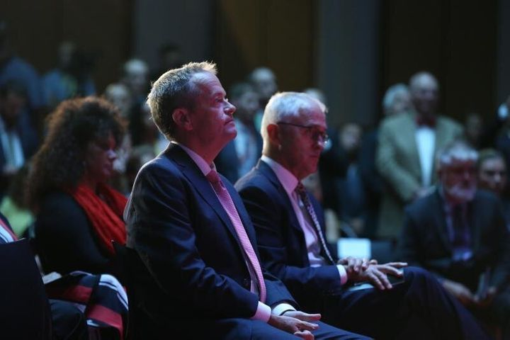 Side by side. Bill Shorten and Malcolm Turnbull