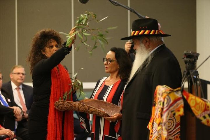 Linda Burney, Senator Malarndirri McCarthy and Senator Pat Dodson welcomed Opposition Leader Bill Shorten to the ALP caucus meeting