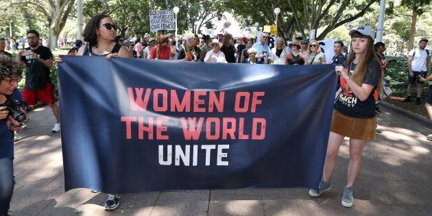 Women protestors march in a rally against US President Donald Trump following his inauguration, in Sydney...