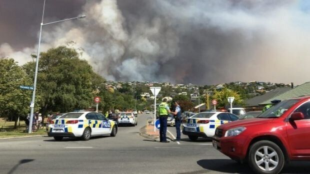 A police cordon at the suburb Westmorland, in Port Hills.