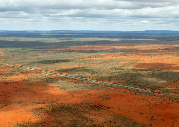 At over one kilometre in length, the outback Australian train known as the Ghan, heads north about 120...