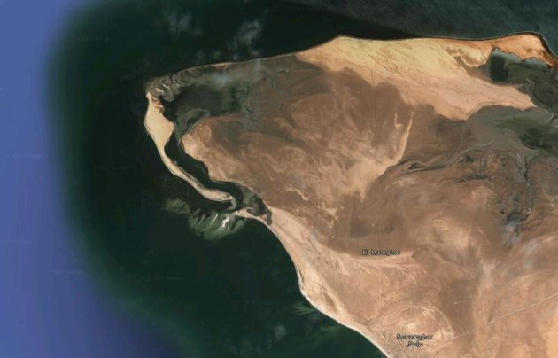 This is the west coast of Mauritania. Anyone else see a lion's head? So imagine the underside of the...