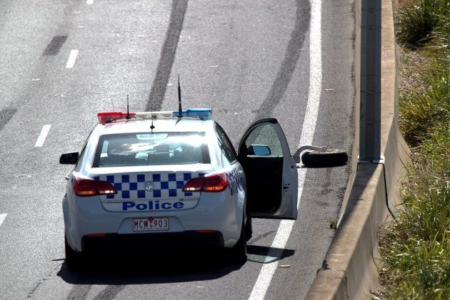 A plane wheel on the Tullamarine Freeway at the scene of the plane
