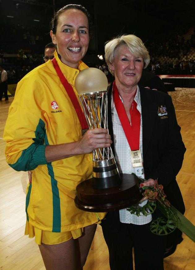 Former Australian netballer Liz Ellis with coach Norma Plummer after beating New Zealand in the Netball...