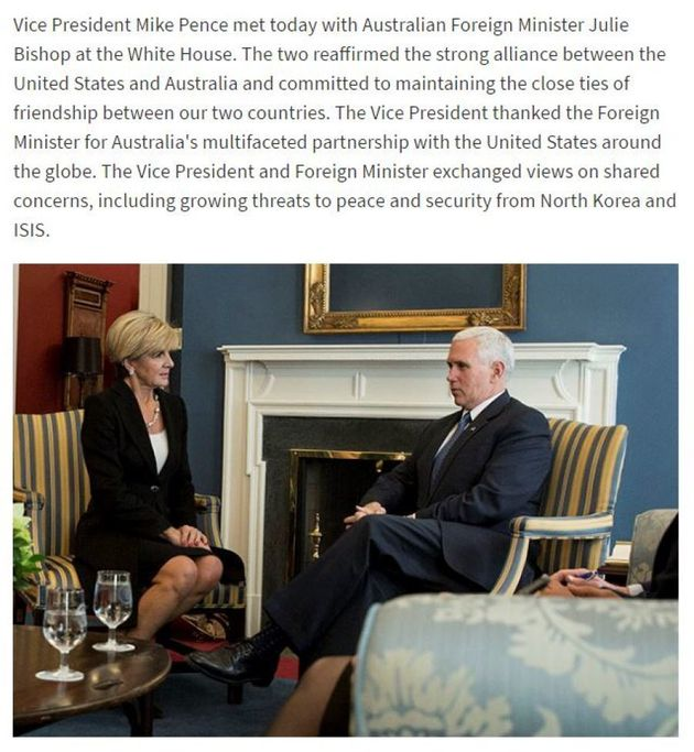 Julie Bishop Meets Mike Pence To Discuss 'Remarkable Relationship' Between 'Allies And
