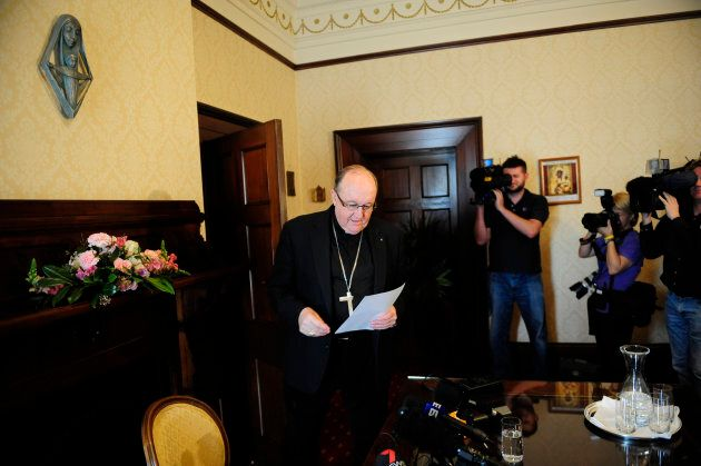 Archbishop Philip Wilson arrives at a Media conference at Catholic HQ Adelaide, in