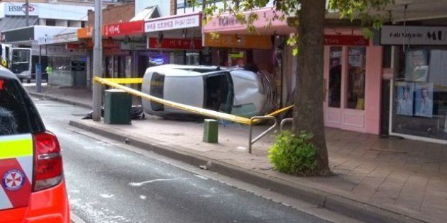 The car also crashed into a pole and hit a