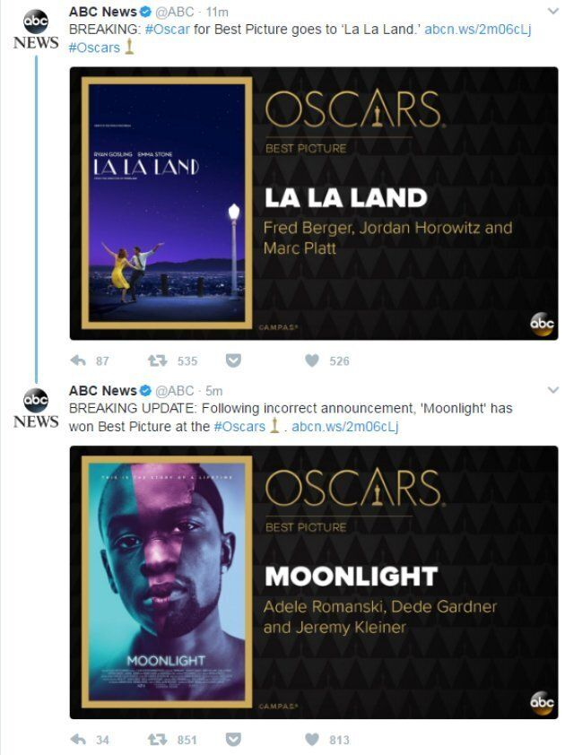 Oscars 2017: 'Moonlight' Wins Best Picture After Epic On-Stage