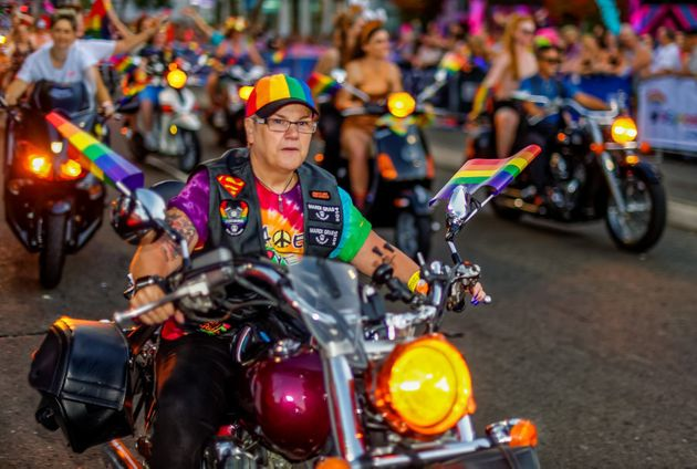 Participants take part in the Sydney Gay and Lesbian Mardi Gras Parade along Oxford Street in Sydney...