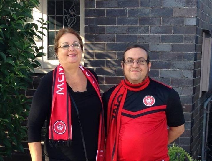 This is Guy and his Mum, who went to a game with him when she visited recently