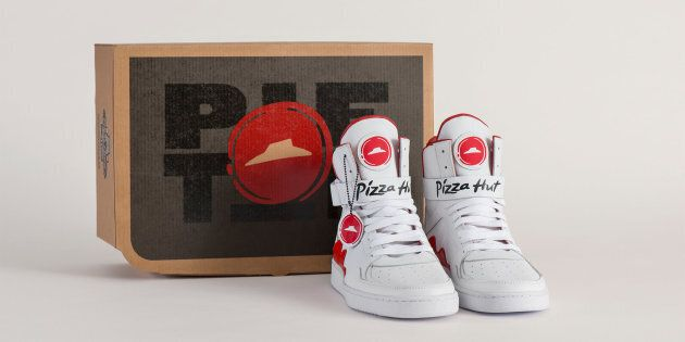 Pizza Hut has introduced the Pie Tops, a style of shoe that allows wearers to order pizza by pressing a button on the right shoe's tongue.