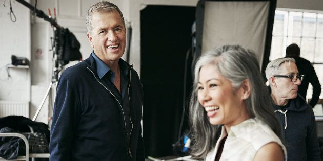 Mario Testino on set with one of the 'real' women featured in the campaign.
