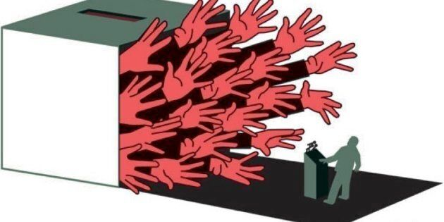 A political cartoon depicting democracy at odds with elites.