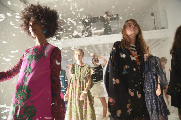 Models pose at the Cynthia Rowley presentation during New York Fashion Week in September