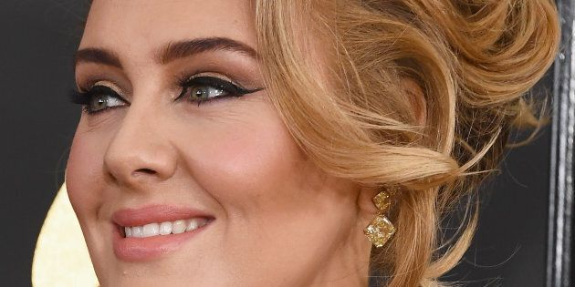 Adele and her famous liquid liner at the 59th GRAMMY Awards.
