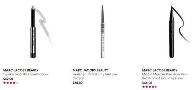 Some products from the Marc Jacobs Beauty collection Ashton uses to create the iconic eye