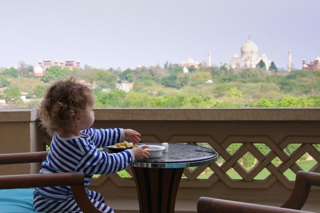 Gazing out towards the Taj Mahal, while enjoying chopped banana and