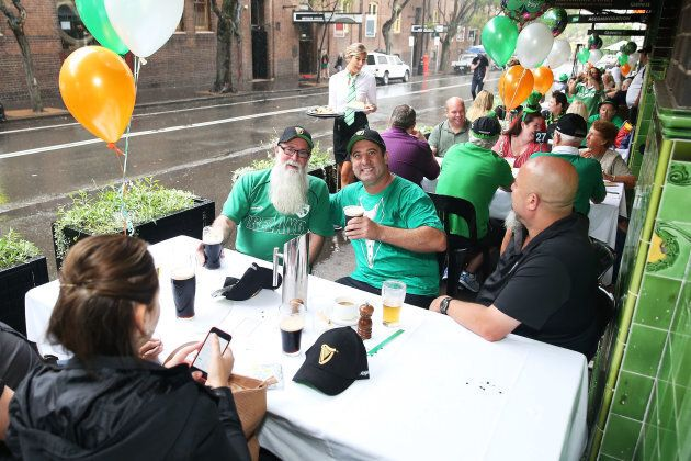 Patrons celebrate Irish heritage and culture on St Patrick's Day at the Mercantile Hotel Irish pub in...